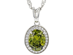 Green And White Cubic Zirconia Rhodium Over Sterling Silver Pendant With Chain 3.24ctw