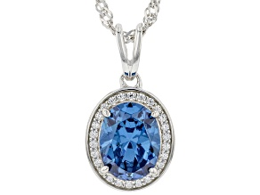 Blue And White Cubic Zirconia Rhodium Over Sterling Silver Pendant With Chain 3.29ctw