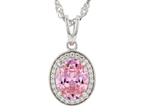 Pink And White Cubic Zirconia Rhodium Over Sterling Silver Pendant With Chain 3.28ctw