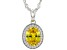 Yellow And White Cubic Zirconia Rhodium Over Sterling Silver Pendant With Chain 3.26ctw