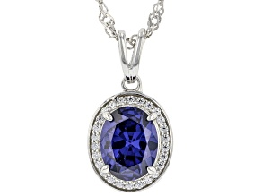 Blue And White Cubic Zirconia Rhodium Over Sterling Silver Pendant With Chain 3.22ctw