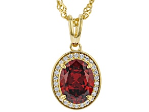 Red And White Cubic Zirconia 18k Yellow Gold over Sterling Silver Pendant With Chain 3.26ctw