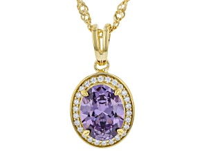 Purple And White Cubic Zirconia 18k Yellow Gold Over Sterling Silver Pendant With Chain 3.22ctw