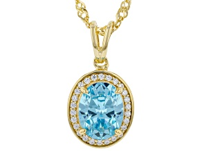 Light Blue And White Cubic Zirconia 18k Yellow Gold Over Sterling Silver Pendant With Chain 3.00ctw