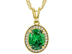 Green And White Cubic Zirconia 18k Yellow Gold Over Sterling Silver Pendant With Chain 3.07ctw
