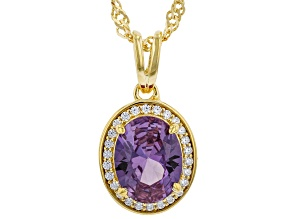 Lab Created Color Sapphire And White Cubic Zirconia 18k Yellow Gold Over Silver Pendant With Chain