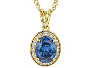 Blue And White Cubic Zirconia 18k Yellow Gold Over Sterling Silver pendant With Chain 3.29ctw