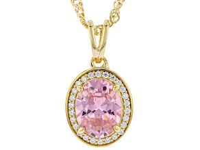 Pink And White Cubic Zirconia 18k Yellow Gold Over Sterling Silver Pendant With Chain 3.28ctw