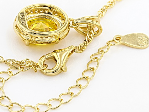 Yellow And White Cubic Zirconia 18k Yellow Gold Over Sterling Silver Pendant With Chain 3.26ctw