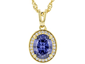 Blue And White Cubic Zirconia 18k Yellow Gold Over Sterling Silver 3.22ctw