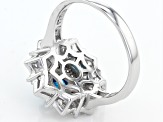 Blue And White Cubic Zirconia Rhodium Over Sterling Silver Ring 2.59ctw