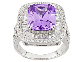 Purple And White Cubic Zirconia Rhodium Over Sterling Silver Ring 11.14ctw