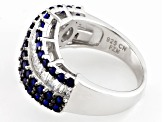Blue And White Cubic Zirconia Rhodium Over Sterling Silver Ring 4.12ctw