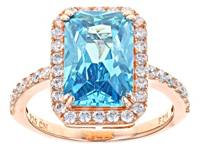 Blue And White Cubic Zirconia 18k Rose Gold Over Silver Ring 8.60ctw