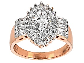 White Cubic Zirconia 18k Rose Gold Over Sterling Silver Ring 2.65ctw