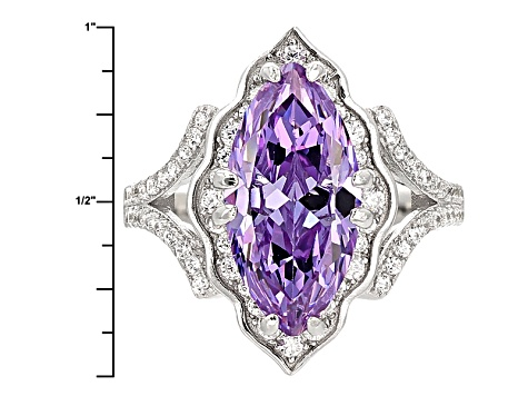 Purple And White Cubic Zirconia Rhodium Over Sterling Silver Ring 7.01ctw