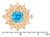 Blue And Brown Cubic Zirconia 18k Rose Gold Over Sterling Silver Ring 5.03ctw