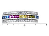 White/Blue/Red/Yellow/Brown/Green Cubic Zirconia Rhodium Over Sterling Silver Ring 1.74ctw