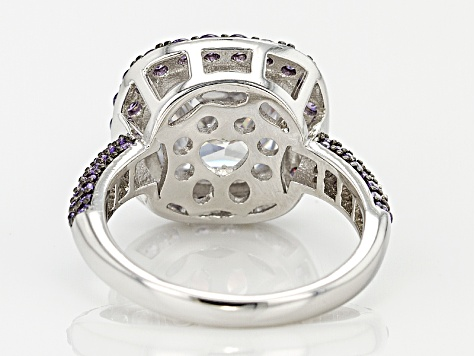 White And Purple Cubic Zirconia White And Black Rhodium Over Sterling Silver Ring 7.54ctw