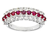 Red And White Cubic Zirconia Rhodium Over Sterling Silver Ring 2.95ctw