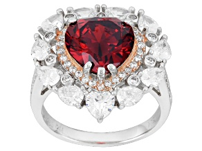 Red And White Cubic Zirconia Rhodium Over Sterling Silver Heart Ring 9.38ctw