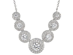 White Cubic Zirconia Rhodium Over Sterling Silver Necklace 6.43ctw