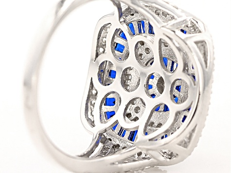 Blue And White Cubic Zirconia Rhodium Over Sterling Silver Ring 2.62ctw
