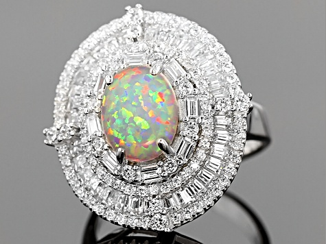 Synthetic Opal And White Cubic Zirconia Rhodium Over Sterling Silver Ring 4.32ctw