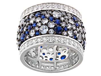 Picture of Lab Created Blue Spinel And White Cubic Zirconia Rhodium Over Sterling Silver Ring 10.45ctw