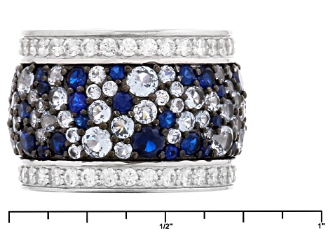 Lab Created Blue Spinel And White Cubic Zirconia Rhodium Over Sterling Silver Ring 10.45ctw