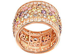 White, Blue, Pink,Yellow Brown, Purple Cubic Zirconia 18k Rose Gold Over Silver Ring 10.45ctw