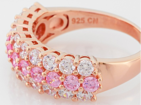 Pink And White Cubic Zirconia 18k Rg Over Sterling Silver Ring 2.95ctw