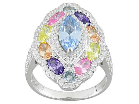 Blue, White, Pink, Yellow, Brown And Purple Cubic Zirconia Rhodium Over Sterling Ring 5.76ctw