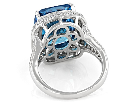 Blue And White Cubic Zirconia Rhodium Over Sterling Silver Ring 19.20ctw