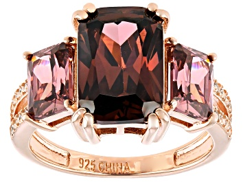 Picture of Blush And White Cubic Zirconia 18k Rose Gold Over Silver Ring 11.34ctw