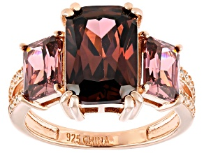 Blush And White Cubic Zirconia 18k Rose Gold Over Silver Ring 11.34ctw