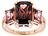 Blush And White Cubic Zirconia 18k Rose Gold Over Silver Ring 9.75ctw