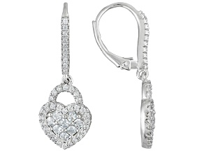 White Cubic Zirconia Rhodium Over Sterling Silver Earrings 2.37ctw