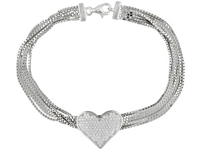 White Cubic Zirconia Rhodium Over Sterling Silver Bracelet 1.07ctw