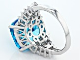 Blue And White Cubic Zirconia Rhodium Over Sterling Silver Ring 17.32ctw