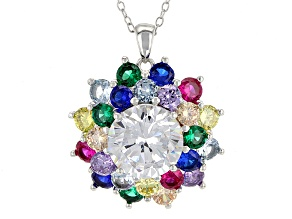 Green, Blue, Purple, Red, Brown, White, Yellow Cubic Zirconia Rhodium Over Silver Pendant With Chain