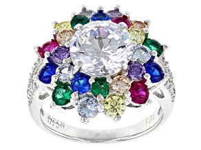 Green, Blue, Purple, Brown, Red, Yellow, White Cubic Zirconia Rhodium Over Silver Ring