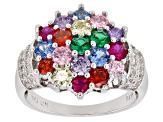 Synthetic Spinel, Nanocrystal, Synthetic Ruby, Multicolor Cubic Zirconia Rhodium Over Silver Ring