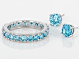 Blue Cubic Zirconia Rhodium Over Sterling Silver Ring And Earrings 6.31ctw