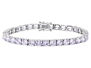 Purple Cubic Zirconia Rhodium Over Sterling Silver Bracelet 25.90ctw