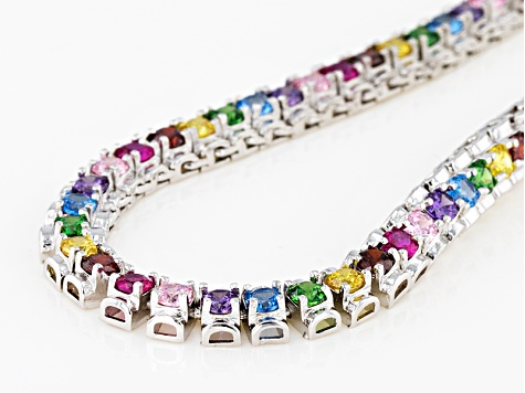 Blue/Pink/Red/Purple/Yellow/Green Cz Rhodium Over Sterling Silver Necklace 14.19ctw