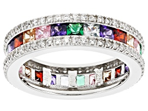 Multi-Color Gemstone Simulants Sterling Silver Band Ring 4.57ctw
