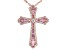 Pink And White Cubic Zirconia 18k Rose Gold Over Sterling Silver Cross Pendant With Chain 4.50ctw