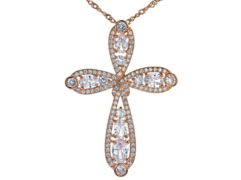 White Cubic Zirconia 18k Rose Gold Over Sterling Silver Pendant With Chain 6.98ctw
