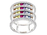 White,Brown,Yellow,Green,Red,Purple, Blue Cubic Zirconia Rhodium Over Sterling Ring 4.42ctw